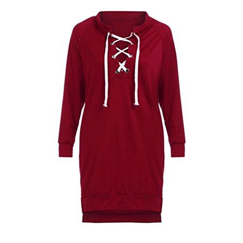 Manadlian Robe de Femme Manches Longues Off Épaule Casual Soirée Rouge