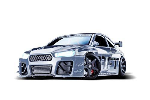 DR!FT Racer Silver V8 Sport ferngesteuertes Drift Auto, Rc Car mit realistischer Fahrdynamik zur Steuerung mit iPhone oder Android, reales Fahrverhalten simuliert via App -