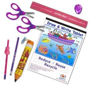 Material escolar para zurdos (tijeras, lápices, regla y más) para niños de menos de 8, 9pc juego de color rosa/morado