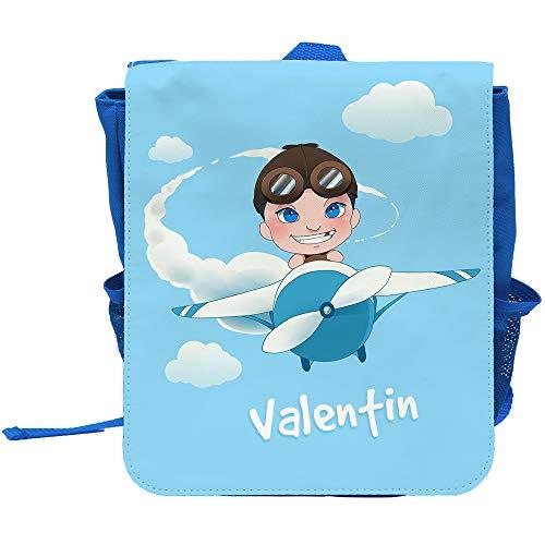 (Kinder-Rucksack mit Namen Valentin und Motiv mit Pilot und Flugzeug für Jungen)