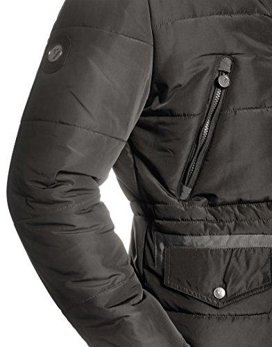 VB Homme Manteau d'hiver avec col montant, pelage détacheable et cordon de serrage gris foncé