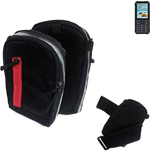 K-S-Trade Outdoor Gürteltasche Umhängetasche für Energizer H20 schwarz Handytasche Case travelbag Schutzhülle Handyhülle
