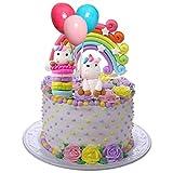 Miss Good Licorne Cake Topper Nuage Arc-en-Ciel Ballon Cake Topper Décorations De Gâteaux Comestibles Gaufrette pour l'anniversaire De Mariage Baby Shower Party Pack De 6