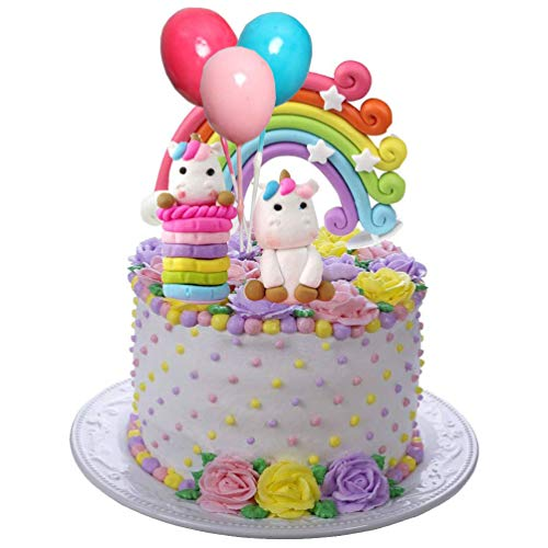 Miss Good Einhorn Cake Topper Wolke Regenbogen Sterne Ballon Cake Topper Kuchen Dekorationen essbare Stand Up Wafer für Geburtstag Hochzeit Baby Shower Party Pack von 6 (Topper Bei Kuchen)