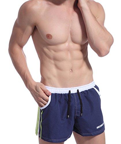 Honeystore Herren Sommer Strand Shorts Badeshorts Badehose Boardshorts mit Muster Blau (Ebay Männer Für Badeanzug)