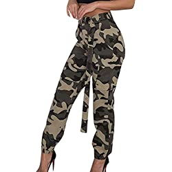 MORCHAN ❤ Femmes Camo Cargo Pantalons Pantalons Casual Militaire Armée Combat Camouflage Pantalon(M,Kaki)