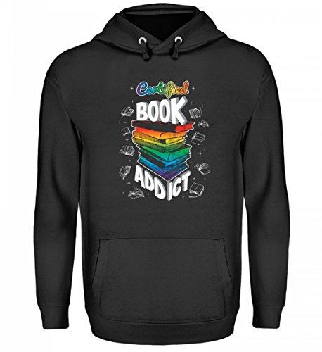 EBENBLATT Hochwertiger Unisex Kapuzenpullover Hoodie - Certified Book Addict - Buch Bücher Bücherwurm Leseratte Geschenk Zum Geburtstag (Addict Hoodie)