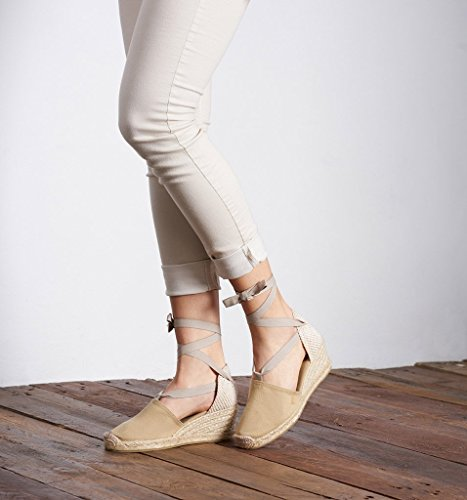 VISCATA Escala 2.5 Heel, Soft Ankle-Tie, Closed Toe, Classic Espadrilles Heel Made in Spain Beige - beige