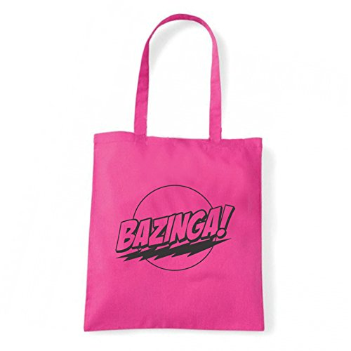 Art T-shirt, Borsa Shoulder Bazinga, Shopper, Mare Fucsia