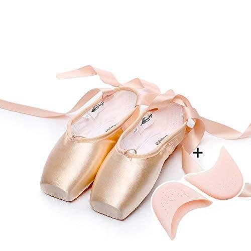 XiuZP Beruf rosa Ballettschuhe Pointe Straps übung Satin leinwand silikon Schwamm für mädchen Frauen (Color : Satin+Silicone, Size : 44 EU)