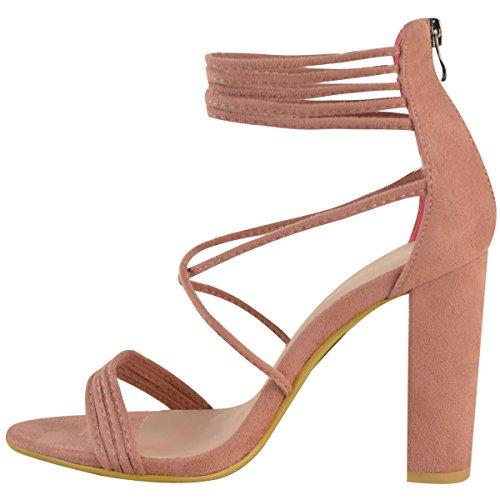 Sandales à talons hauts et larges - bout ouvert/brides - soirée - femme Faux suède rose pastel/bride