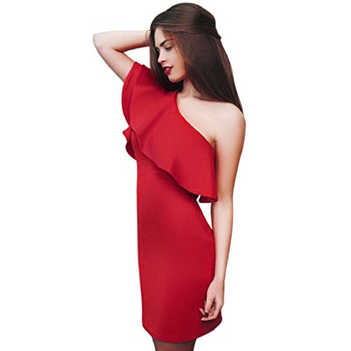 Heißer Verkauf ! Schön Damen Schräg Lotus blatt Hüfte packen Kleid, Amlaiworld Schlauchrock Exklusiv Mode Mädchen Rock Kleid (Rot, S) (Falte Rock Saum)