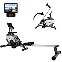 Beaulife.Rowing Machines Foldable Ergonomic Seat Easy to Move Rowing Machine Home Folding Adjustable Resistance Indoor Home Rowing Machine Silver Colour - 12-Month Warranty