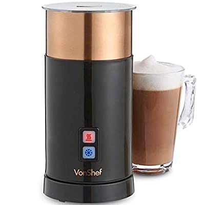 VonShef Milk Frother Electric - Warmer For Hot And Cold Milk, Latte Cappuccino Foamer
