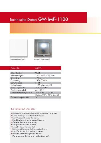 Infrarotheizung Glaswärmt//verschiedene Größen Metall&Basic 300,400,450,550,700,900 &1100 Watt Elektroheizung-Austellungsstücke (Weiß IMP 1100 Watt 1400x600)