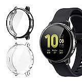 FASTSNAIL Cover per Samsung Galaxy Watch Active 2 44mm [2Pezzi] Custodia Piena Copertura Cover Morbide Pellicola Protecttiva (Trasparente+Nero)