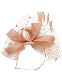 STRIR Sombrero Tocado Pelo Elegante Pluma Clip Hat Boda Coctel Malla Neto  Velo Diadema para Mujer 128ba4a77622