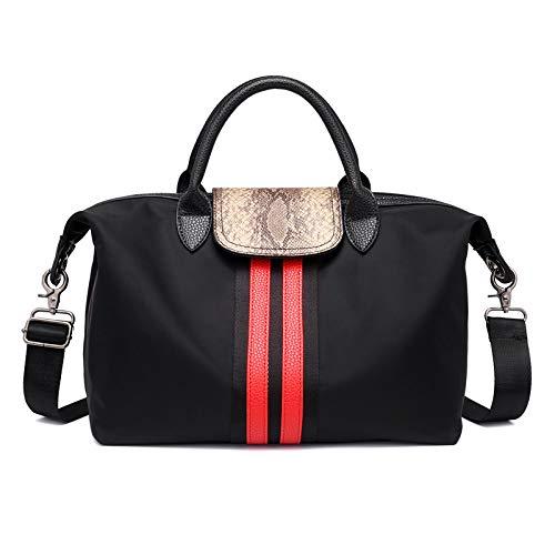 KERJK DamentaschenSchulter Umhängetasche Color Stripe Color Stitching Damentasche Nylon Oxford Textile Reisetasche Tote, schwarz -