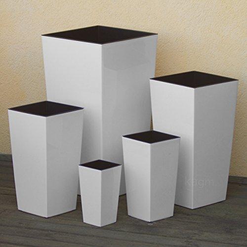 Blumenkübel Pflanzkübel Übertopf Pflanzeinsatz Hochglanz / 5 Farben, 5 Größen (Farbe: Weiß Größe: XL)
