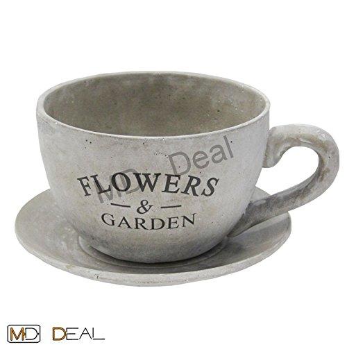Blumentopf Pflanze Zement grau Tasse + Unterteller