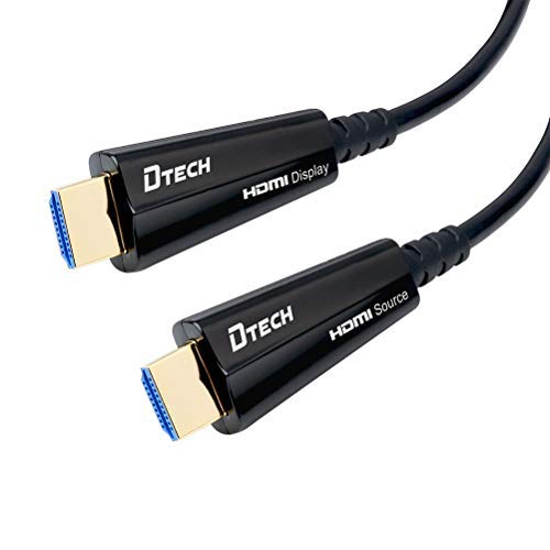 DTECH Glasfaser-HDMI-Kabel (4K, 60 Hz, HDR, 18 Gbit/s, High Speed, Subsampling 4:4:4 4:2:2 4:2:0, 31 m, Schwarz -