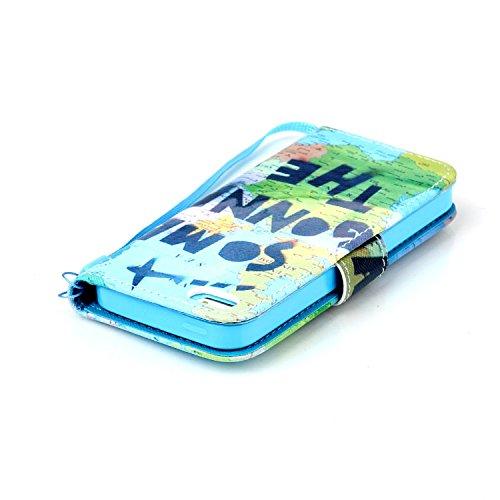 Meet de Apple iPhone 5S Bookstyle Étui Housse étui coque Case Cover smart flip cuir Case à rabat pour Apple iPhone 5S Coque de protection Portefeuille - papillon de pissenlit monde global