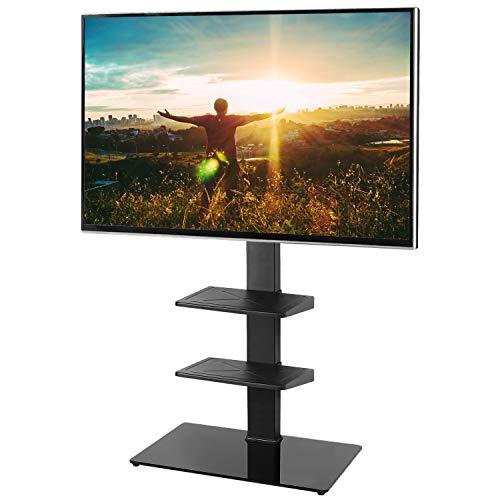 RFIVER Meuble Support TV sur Pied avec Support Cantilever pour TVs et Ecrans LCD LED de 32 à 65 Pouces Rangement avec 3 Etagères de AV Equipments TF2002
