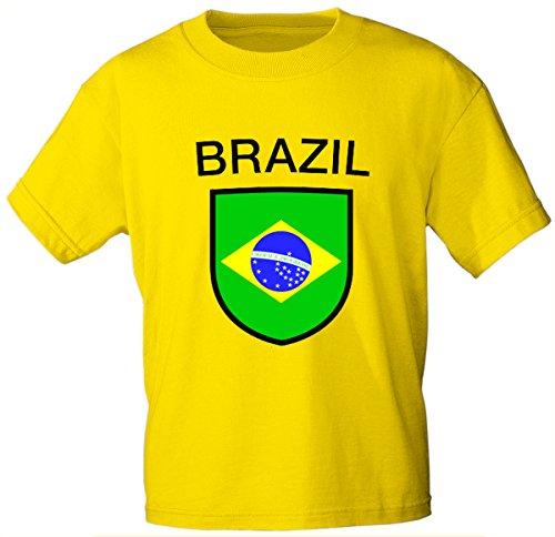 Kinder T-Shirt mit Print - Brazil Brasilien - 76029 gelb Gr. 86-164 Größe 134/146