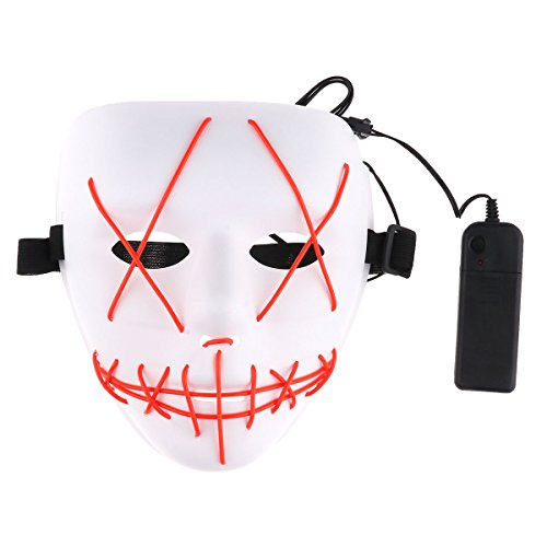 XINXUN LED Light EL Wire Cosplay Maske , Halloween Masken für Halloween Christmas Party Costume Mask Festival Cosplay,Kostüm Purge Horror Mask ()