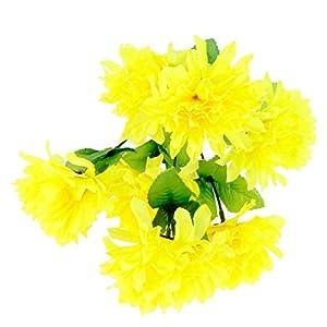 Baoblaze Crisantemo Artificial Ramo Cementerio Flores Decoracion de Hogar Plantas – Amarillo, como se Describe