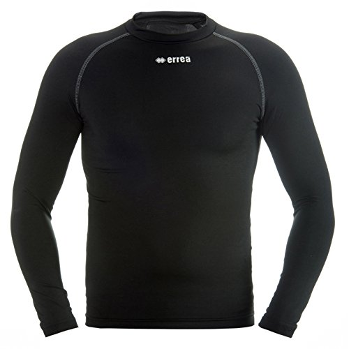 ERMES Funktionsshirt mit geringer Kompression (langarm) ideal zum Training beim Fußball, Running, Football, Rugby, Hockey u.v.m. · KINDER Jungen & Mädchen Unterziehshirt (Kompressionsshirt) aus Polyester-Stoff für Individual- & Teamsport von Erreà (schwarz, XXS/XS) (Mädchen-hockey-t-shirts)