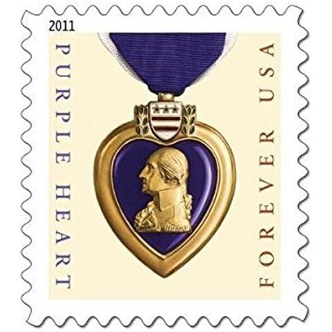 U.S. Mail: viola, a forma di cuore, confezione da 20 pezzi, motivo: Forever