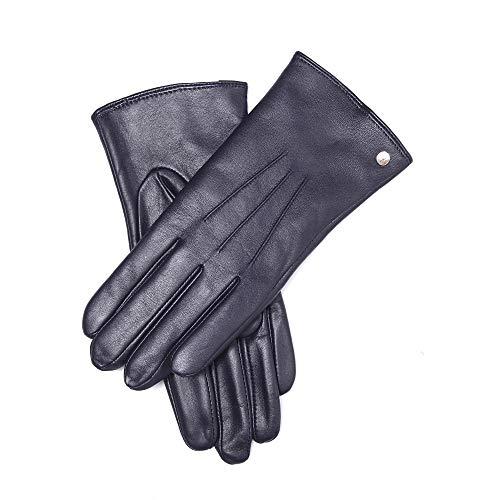 YISEVEN Guanti in pelle di montone touchscreen donne tre punti mano vera lana calda fodera per inverno moto guida vestito da lavoro regali, blu scuro