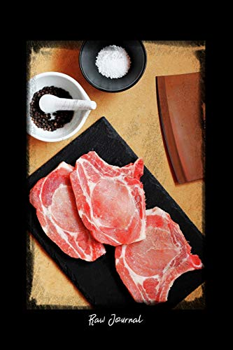 Raw Journal: Dot Grid Journal - Raw Food Ingredients Cooking Pork Flat Lay - black Dotted Diary, Planner, Gratitude, Writing, Travel, Goal, Bullet Notebook - 6x9 120 pages (Lay Flat Notebook)