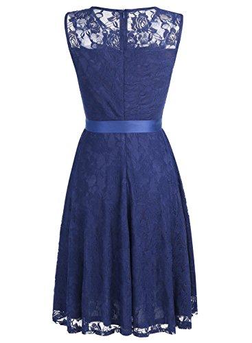 Dressystar Robe femme soirée/bal de vintage avec dentelle sans manches avec une ceinture Marine