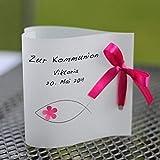 12 personalisierte Lichthüllen Teelichthüllen für Tischlicht Windlichter Tischdeko Herzform Fische Taufe Kommunion Konfirmation pink Handarbeit binnbonn