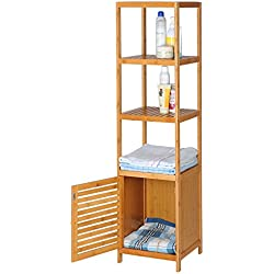 eSituro Estantería de Baño de Pie Bambú Estante de Cocina Salón Librería Soporte de Plantas con 5 Niveles y Cajón 36 x 33 x 140 cm SBSS0018