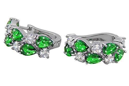 ge Damen-Schmuck Weiß-Gold Vergoldet Kristall-Steine grün Geschenk Frau (Ring Weiß Stein)
