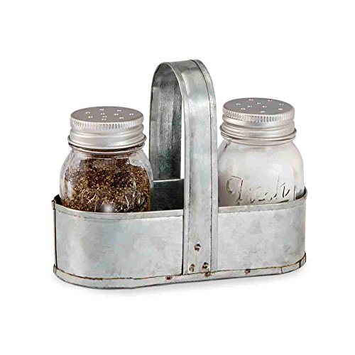 Mud Pie Fresh Jar Salt and Pepper Caddy Set, Silver by Mud Pie -