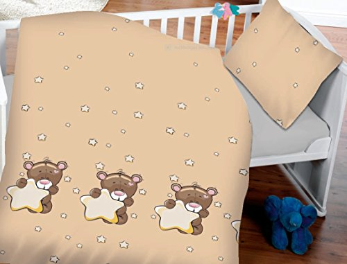7dreams® Kinder Baby Bettwäsche Baumwolle 100x135cm Kissenbezug 40x60cm (Teddy Bär mit Stern) Bar Tumbler
