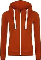 WearAll - Neu Damen Mit Kapuze Reißverschluss Langarm Elastisch Hoodie Top - 7 Farben - Größe 36-42