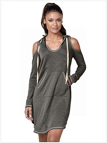 Katylen-Girl cloth Damen Pure Color Kapuzen-Off-Schulter Langarm Känguru-Tasche Pullover Kleid, Grau, s -