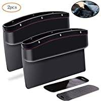 2pcs Car Seat Pockets PU Leather Car Console Side Organizer Seat Gap Filler Catch Caddy With Non-Slip Mat 9.2x6.5x2.1 inch Black (2pcs)