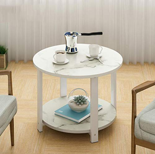 QJXSAN Kaffee Tee Tisch Zwei Ebenen Marmor Runde Lagerung Versammlung rutschfeste Laptop Tisch Sofa Einfache Ecke Side Nachttisch Living Balkon (Color : White, Size : 60CM×43CM) -