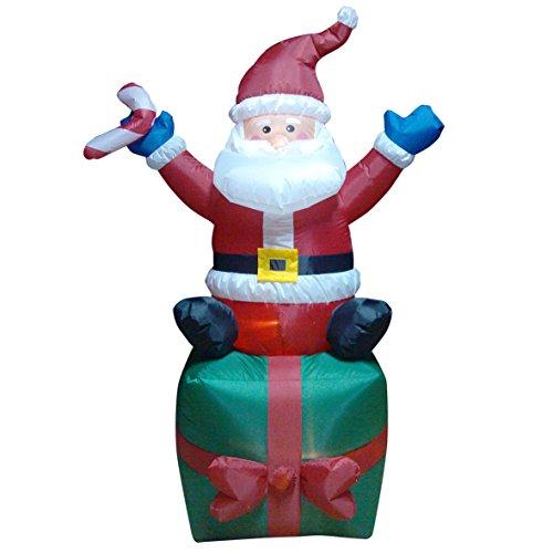 The natale officina 813401,8m gonfiabile di babbo natale in scatola regalo con led, multicolore