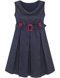 Mädchen Kleid Khaki Taste Zurück Schule Uniform Gefaltet Saum Gr. 110-158