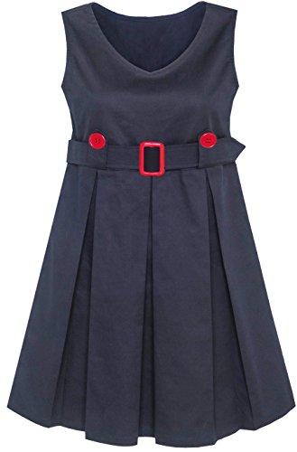 Mädchen Kleid Marine Blau Zurück Schule Uniform Gefaltet Saum Gr. 110 (Marine-uniform Dress)