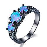 NYAOLE Exquisite Weibliche Runde Blau Feueropal Ring Schwarz Gold Gefüllt Trauringe für Frauen Vintage Schmuck, 12