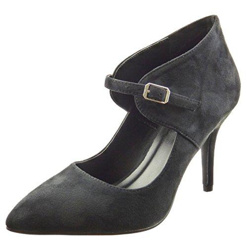 Sopily - Scarpe da Moda scarpe decollete alla caviglia donna Tacco Stiletto tacco alto 9 CM - Nero FRF-8-YX-10 T 36