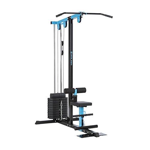 Capital Sports LZ 550 • Kabelzugmaschine • Kabelzug-Turm • LAT-Maschine • 2 Seilzüge • Stahl • zahlreiche Übungsmöglichkeiten • 10 x 10 lb Gewichtsplatte (insgesamt 45 kg) • Steckstiftkupplung • blau